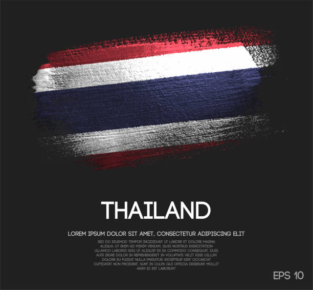 thailand flag made of glitter sparkle brush paint vector - thai flag stock illustrations, clip art, cartoons, & icons