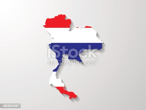 Thailand  flag map with shadow effect