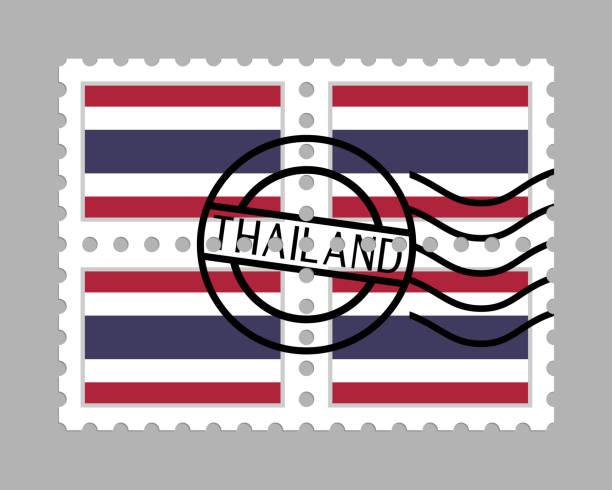 郵便切手のタイの国旗 ベクターアートイラスト