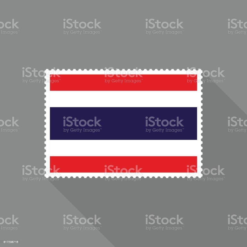 灰色の背景は、フラットなデザイン スタイルに長い影を持つタイ国旗切手 ベクターアートイラスト