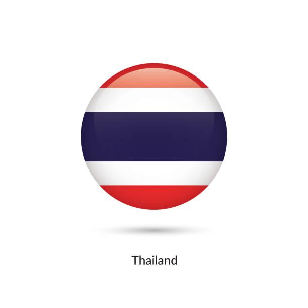 Thailand-Flagge - Runde Schaltfläche