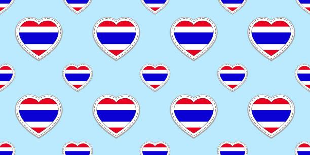 thailand fahne musterdesign. vektor-thai fahnen aufkleber. liebe herz symbole. textur für sprachkurse, sportseiten, reisen, schule geographische, design-element. patriotische tapete - pattaya stock-grafiken, -clipart, -cartoons und -symbole