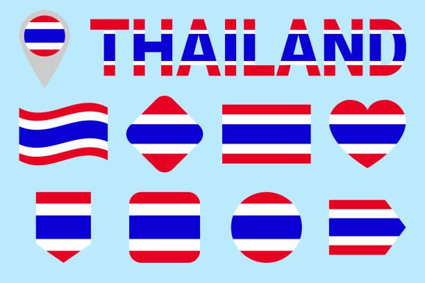 thailand fahne vektor-satz. verschiedene geometrische formen. flachen stil. siam-flaggen-sammlung. können für sportreisen, nationale, geographische design-elemente verwenden. isolierte icons mit namen. - pattaya stock-grafiken, -clipart, -cartoons und -symbole