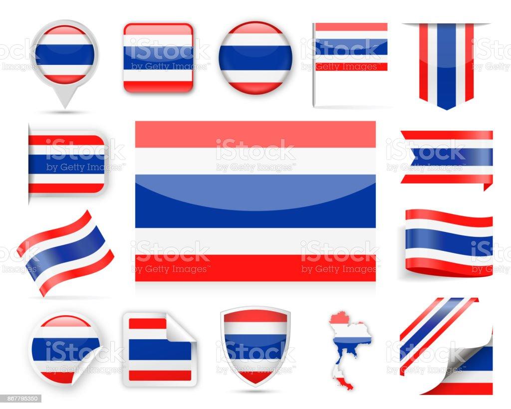 タイ旗ベクトルを設定 ベクターアートイラスト