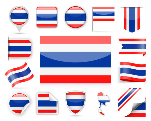 thailand flag vector set - thai flag stock illustrations, clip art, cartoons, & icons