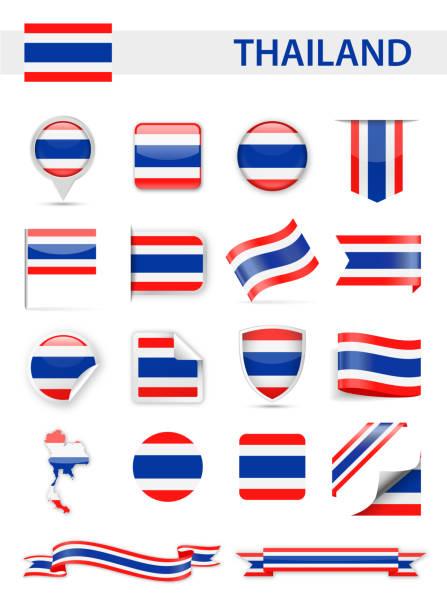 Thailand-Flagge-Vektor-Set – Vektorgrafik