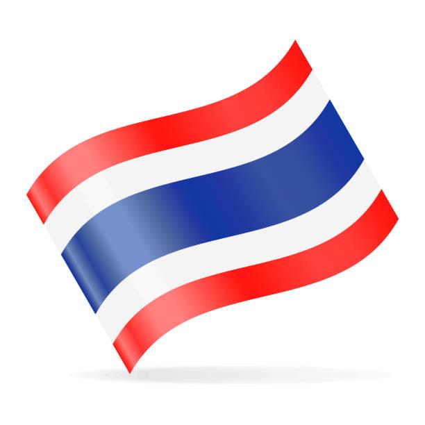 ilustraciones, imágenes clip art, dibujos animados e iconos de stock de bandera de tailandia vector icono que agita - bandera tailandesa