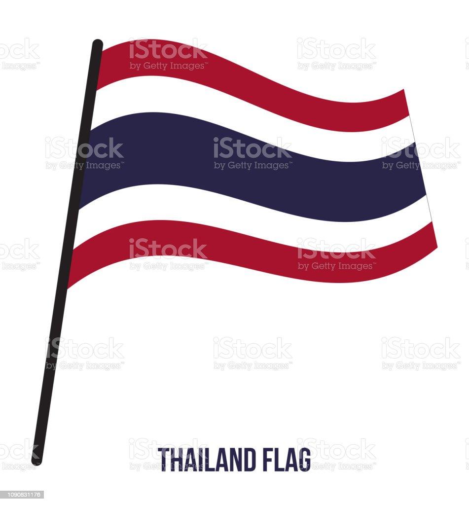 タイ旗ベクトルを振ってイラスト白背景にタイ国旗。 ベクターアートイラスト