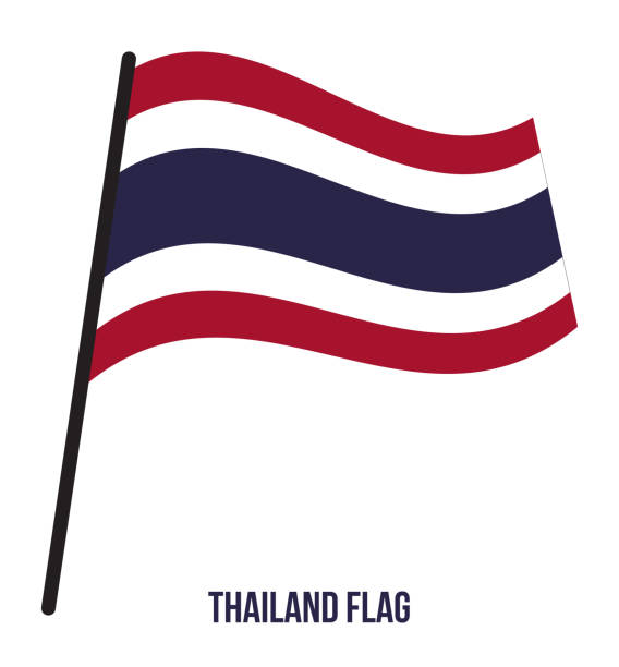 thailand flag waving vector illustration on white background. thailand national flag. - thai flag stock illustrations, clip art, cartoons, & icons