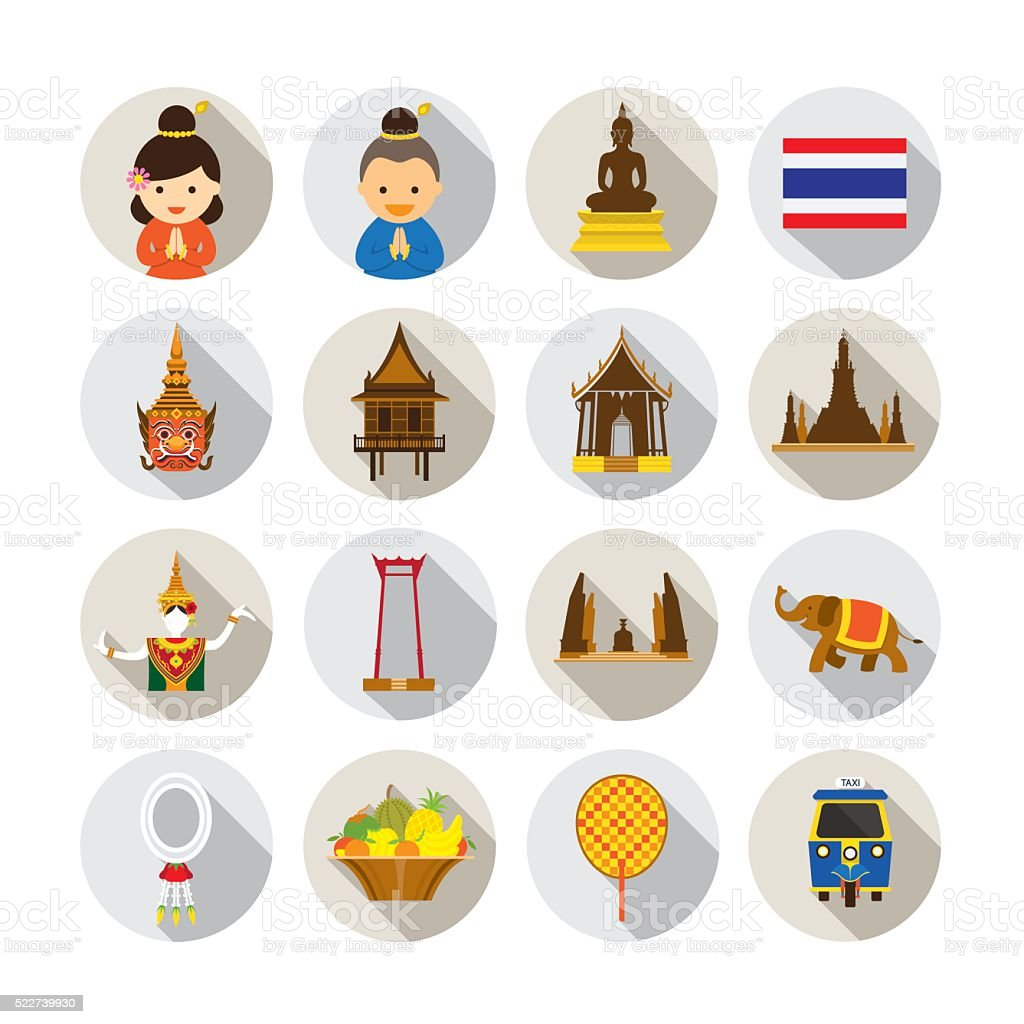 Thailand Flat Icons Set vector art illustration