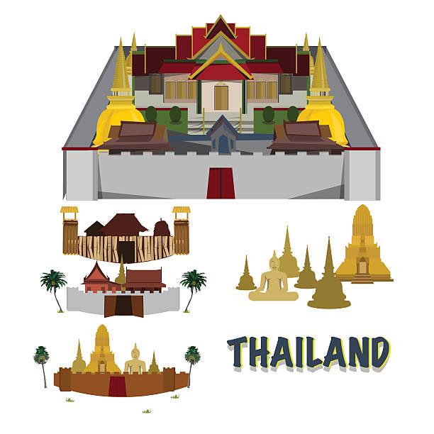 thailand grand palace. stadt in der wand der schläfe. camp-vektor - ayutthaya stock-grafiken, -clipart, -cartoons und -symbole