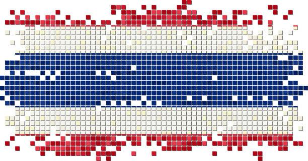 タイのグランジのタイルの国旗。ベクトルイラストレーション ベクターアートイラスト