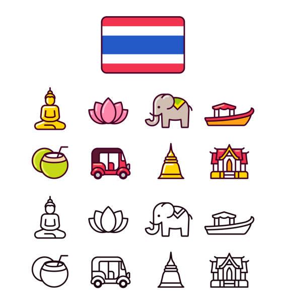 태국 아이콘 세트 - 부처 불교 stock illustrations