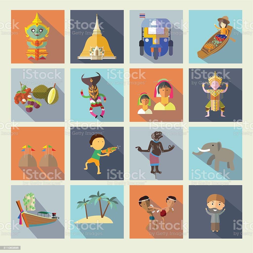 Thailand icons vector art illustration