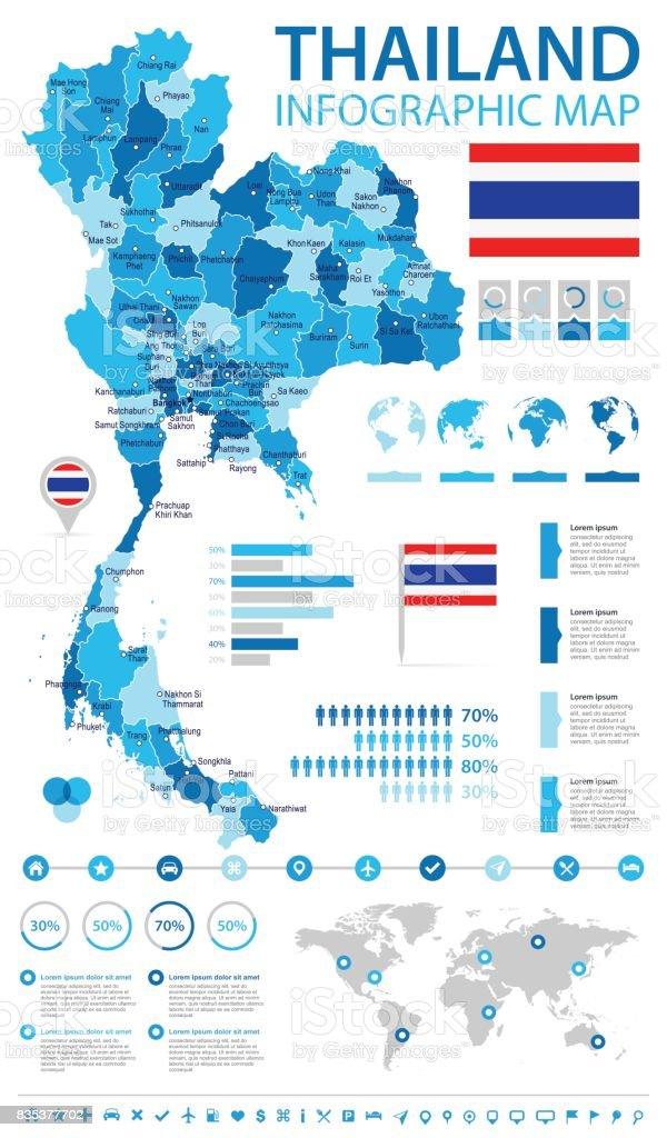 Thailand infographic map and flag illustration stock vector art chart map navigational equipment world map bangkok gumiabroncs Images