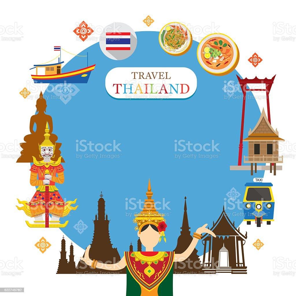 Tailândia marco objetos ícones quadro - ilustração de arte em vetor