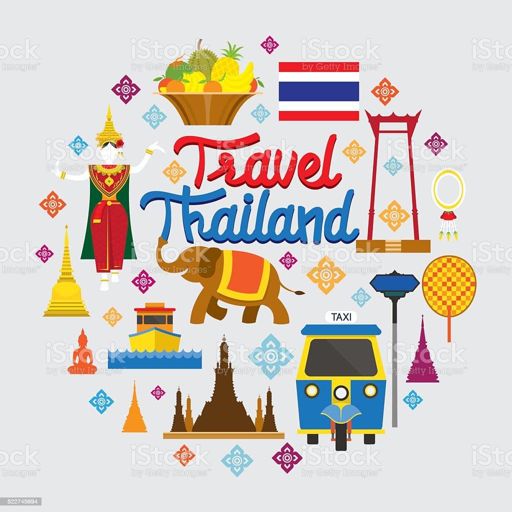 Thailand Wahrzeichen Objekte Symbole Etikett – Vektorgrafik