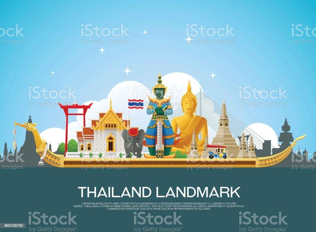 Thailand Reisen Wahrzeichen und Kunst Hintergrund Vektor-Illustration – Vektorgrafik