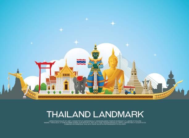 ilustraciones, imágenes clip art, dibujos animados e iconos de stock de viaje histórico de tailandia y el arte ilustración de vectores de fondo - bandera tailandesa