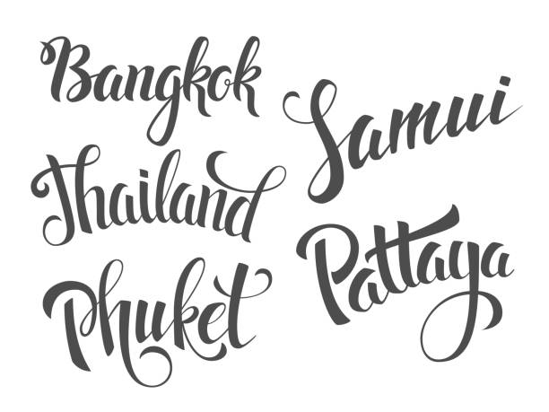 thailand-schriftzug etiketten. - pattaya stock-grafiken, -clipart, -cartoons und -symbole