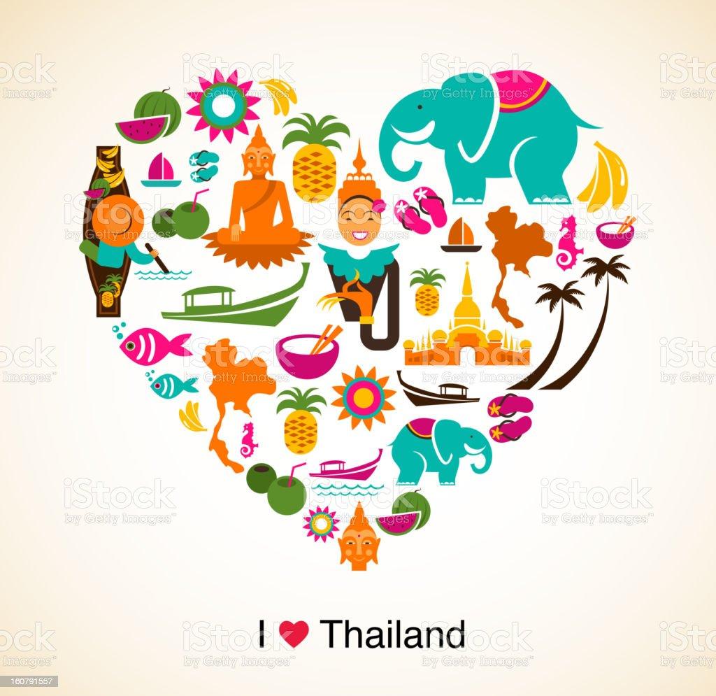 Tailândia amor-coração com ícones tailandesa e símbolos - ilustração de arte em vetor