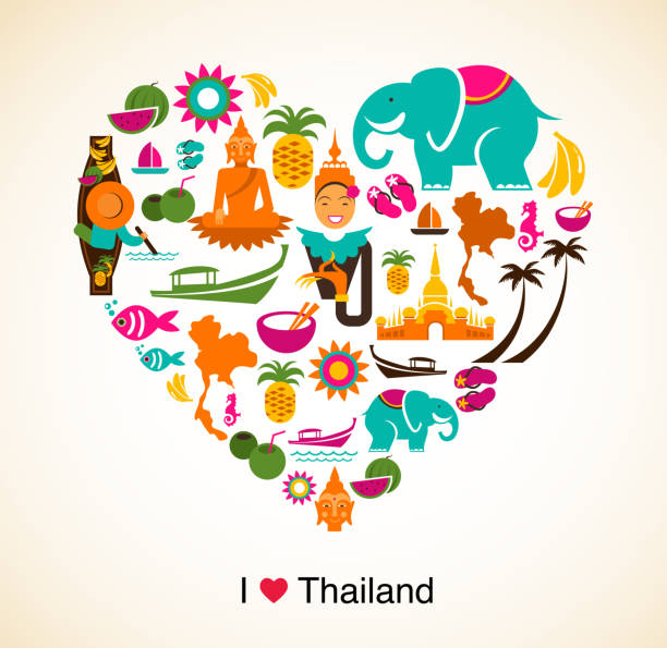 thailand love - heart with thai icons and symbols - thai food stock illustrations, clip art, cartoons, & icons