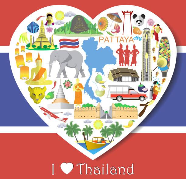 thailand lieben. thailändisches vektor-icons und symbole - pattaya stock-grafiken, -clipart, -cartoons und -symbole