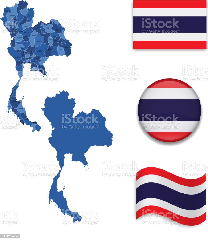 Thailand Karte und Flagge Kollektion – Vektorgrafik