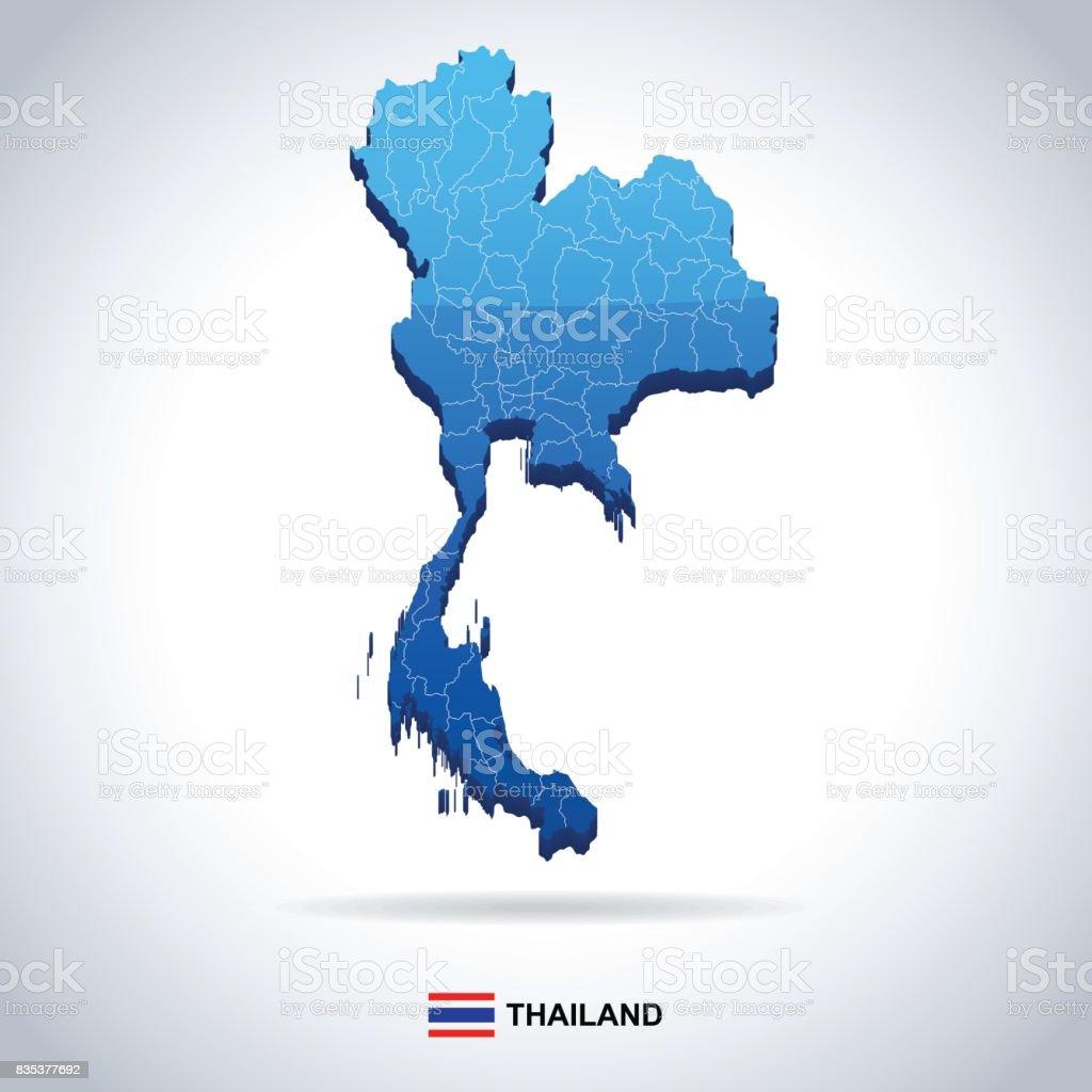 Thailand - Karte und Flagge Abbildung – Vektorgrafik