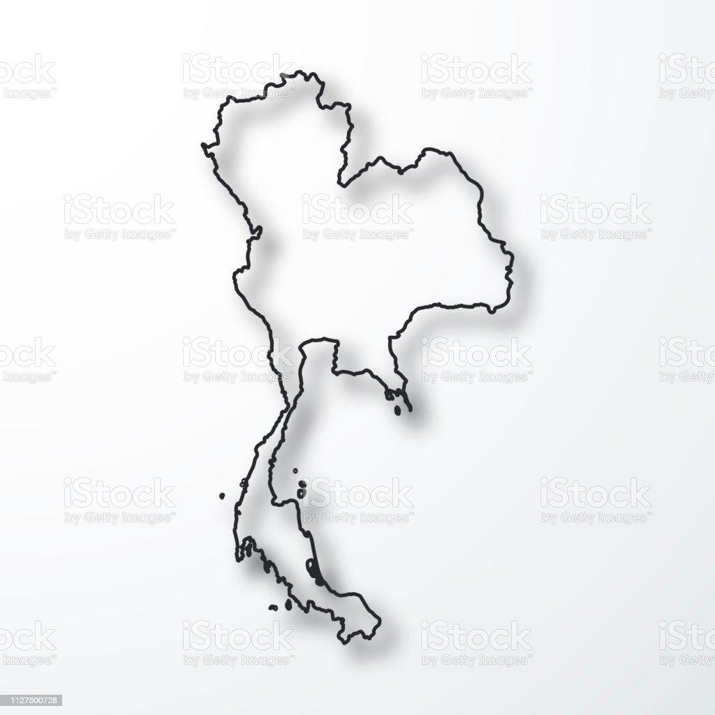 Carte Thailande Noir Et Blanc.Carte De La Thailande Noir Contour Avec Ombre Sur Fond Blanc