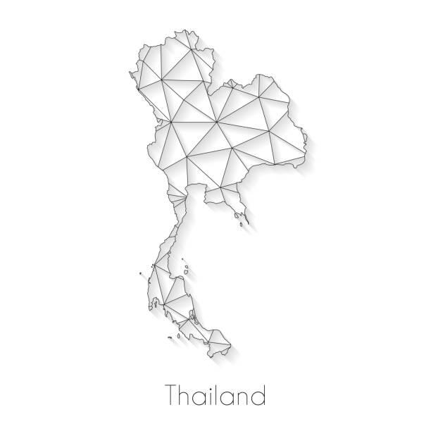 połączenie mapy tajlandii — siatka sieciowa na białym tle - tajlandia stock illustrations