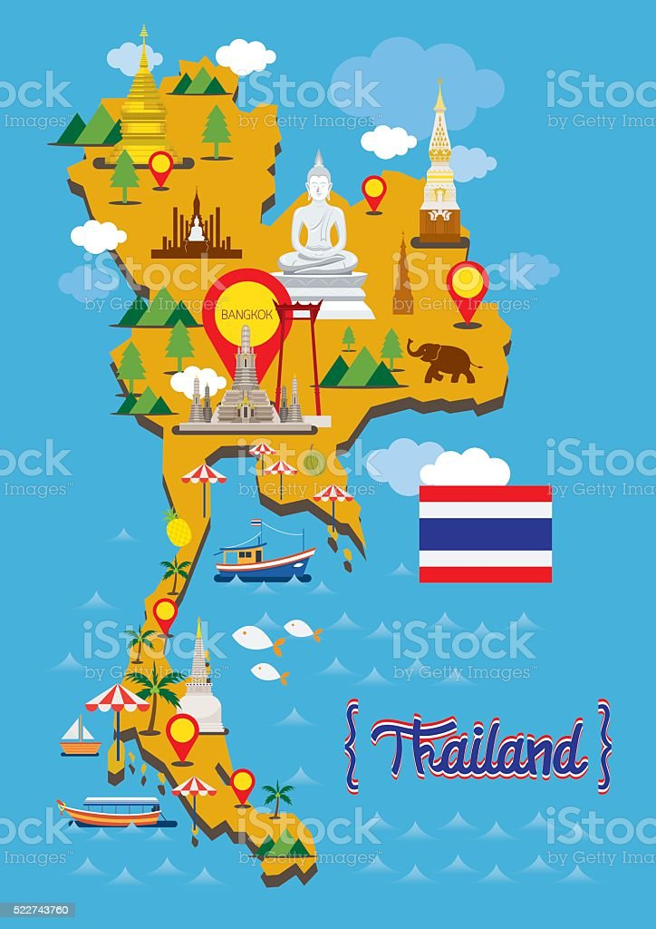 Thailand Map Detail Landmarks vector art illustration