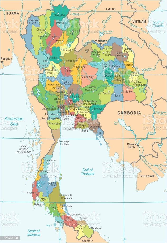 Thailand map detailed vector illustration stock vector art more thailand map detailed vector illustration royalty free thailand map detailed vector illustration stock vector gumiabroncs Images