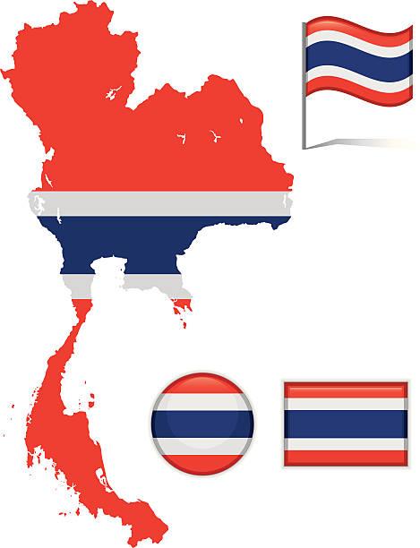 Thailand Karte & Flagge – Vektorgrafik