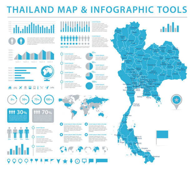 stockillustraties, clipart, cartoons en iconen met thailand kaart - info grafische vectorillustratie - thailand