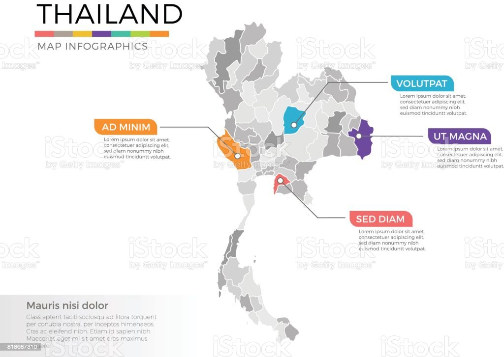 Thailand Map Infographics Vector Template With Regions And Pointer ...