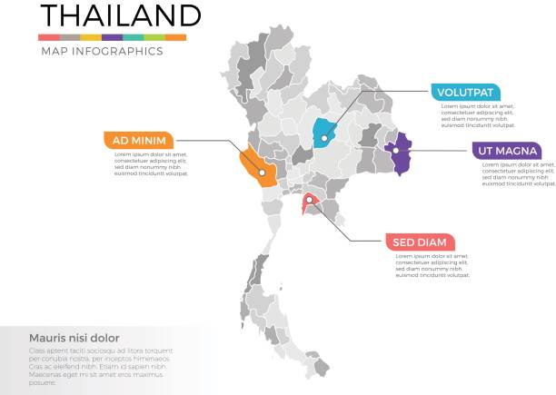 thailand map infographics vector template with regions and pointer marks - таиланд stock illustrations