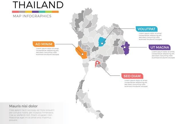 stockillustraties, clipart, cartoons en iconen met thailand kaart infographics vector sjabloon met regio's en de aanwijzer merken - thailand