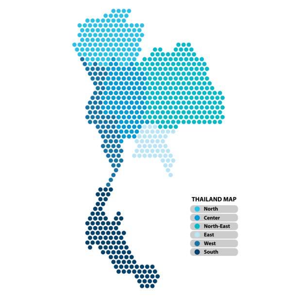 tajlandia mapa niebieskiego kształtu koła z prowincjami kolorowymi w jasnych kolorach na białym tle. ilustracja wektorowa w stylu kropkowanym. - tajlandia stock illustrations