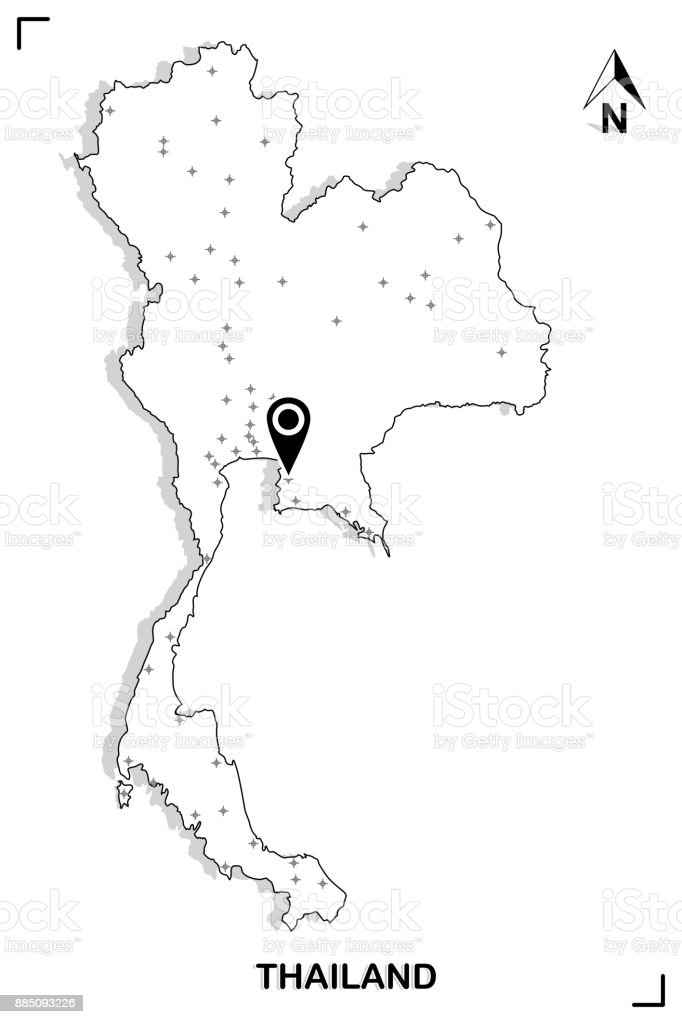 Thailand map outline graphic drawing with marking location on white thailand map outline graphic drawing with marking location on white background vector illustration royalty gumiabroncs Images