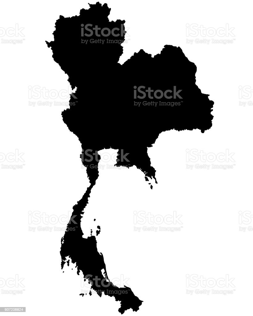 Thailand Map Outline Vector Stock Vector Art & More Images of ...