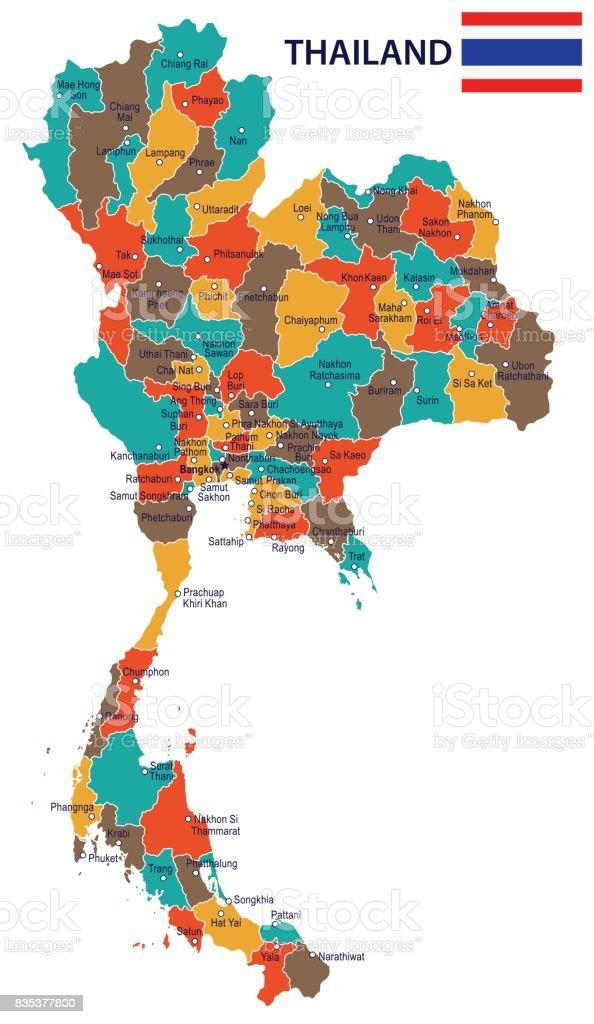 Thailand Karte.17 Thailand Karte Rot Grün Braun Gelb 10 Stock Vektor Art Und Mehr Bilder Von Bangkok