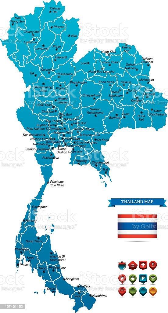 Thailand Map Stock Vector Art IStock - Map of thailand