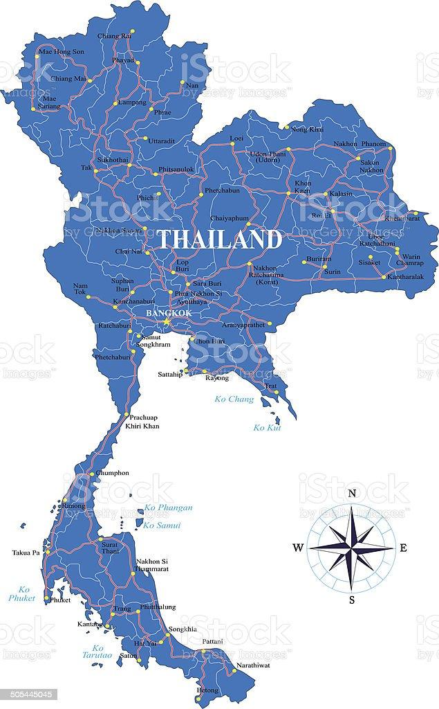 Thailand map vector art illustration