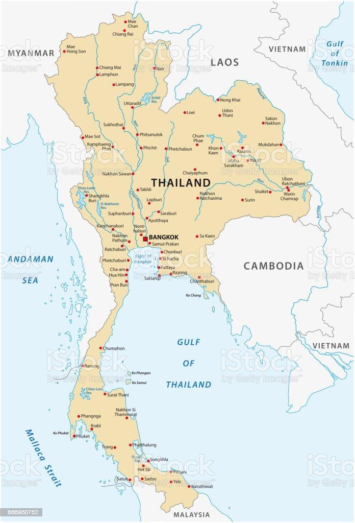 Thailand Inseln Karte.Thailandkarte Stock Vektor Art Und Mehr Bilder Von Andamanensee Istock