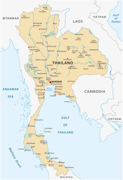 stockillustraties, clipart, cartoons en iconen met kaart van thailand - thailand