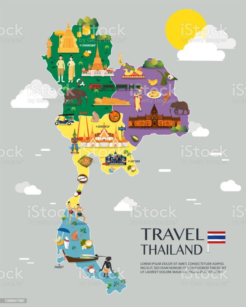 Thailand map with colorful landmarks illustration design