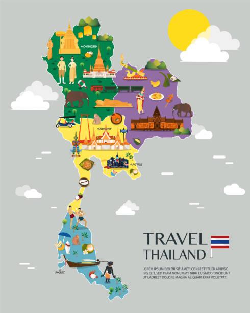 stockillustraties, clipart, cartoons en iconen met thailand kaart met kleurrijke bezienswaardigheden afbeelding ontwerp - thailand