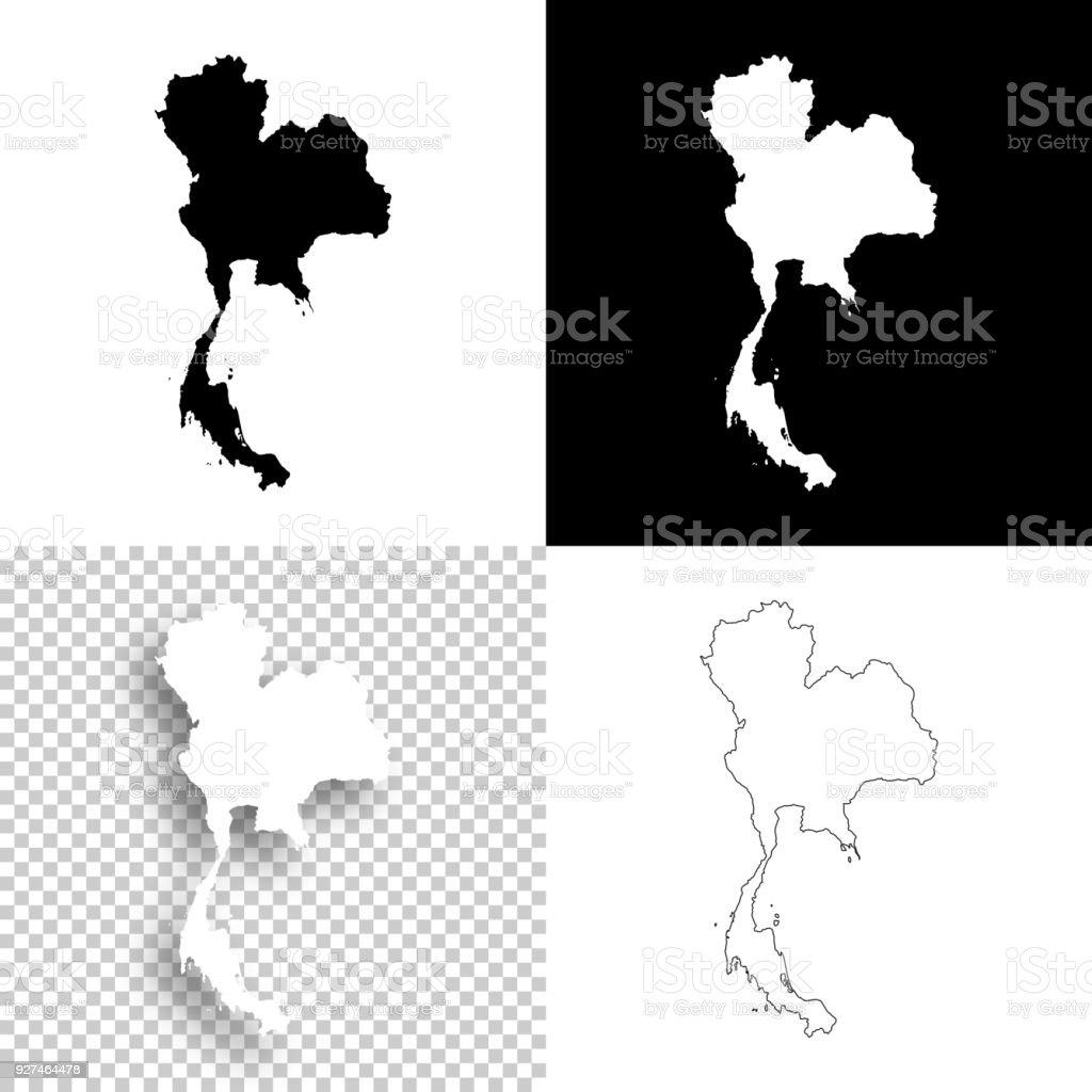 Carte Thailande Noir Et Blanc.Cartes De La Thailande Pour La Conception Blank Fond Blanc