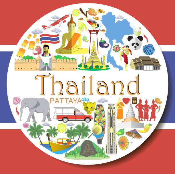 thailand runde hintergrund. thai flache vektor-icons und symbole - pattaya stock-grafiken, -clipart, -cartoons und -symbole